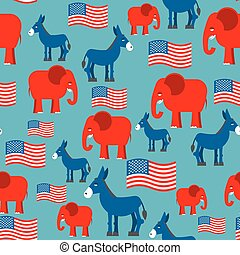 Elephant and Donkey seamless pattern. Texture for election and debate in America. Democrat donkey and Republican elephant and American flag. Political background. patriotic ormanent