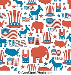American seamless pattern. USA Election Symbols National pattern. Uncle Sam hat. American flag and map. Democrat Donkey and Republican Elephant. Patriotic background. USA Election texture.