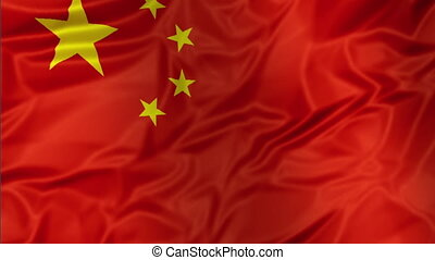 China Flag waving - 3D waving Chinese flag with five yellow...