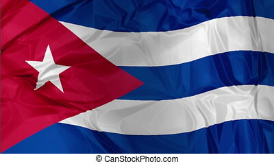the Cuba flag waving - 3D waving Cuba flag background red,...
