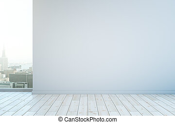 Blank white wall - Blank wall in interior with white wooden...