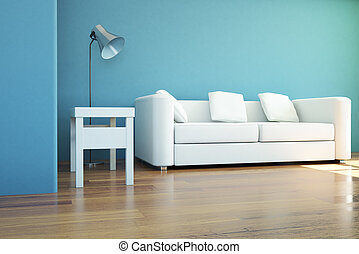 Interior with sofa and lamp - Interior design with blue...