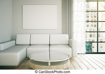White interior design with couch, table, blank poster on...