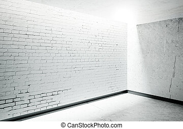 Blank brick wall in room interior with sunlight. Mock up, 3D...