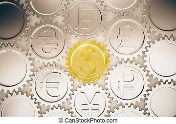 Financial system concept with different coin gears 3D...
