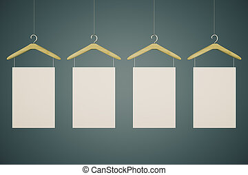 Hangers with blank tags on black background. Mock up, 3D...