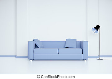 Room with blue sofa - Blue sofa in white room with blank...