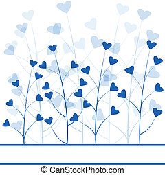 Blue love forest , abstract background