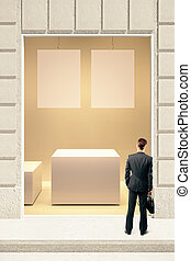 Rectangular showcase with businessman - Rectangular showcase...