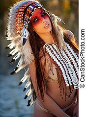hermoso, norteamericano, indio, niña, Traje