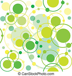 Green circles and dots pattern, abstract background