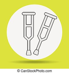 crutches icon design, vector illustration eps10 graphic