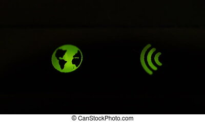 Footage Wi-Fi router green icons blinking close up