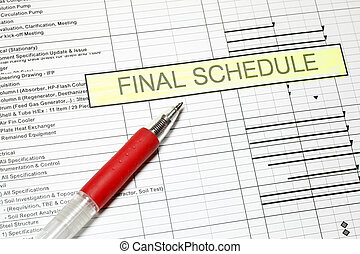 Project Final Schedule with time graph and pen
