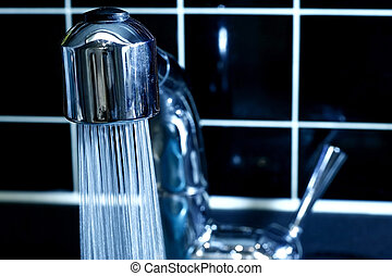 Faucet with running water - Modern Faucet with running water...