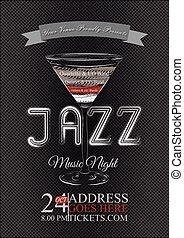 Vector jazz, rock or blues music poster template.