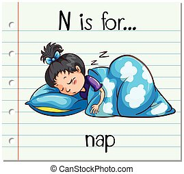 Flashcard letter N is for nap illustration