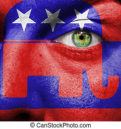 人を配置する, ペイントされた, シンボル, 顔, 象, パーティー, 共和党員