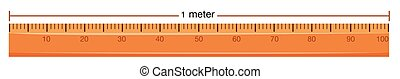Wooden ruler with measurement in meter illustration