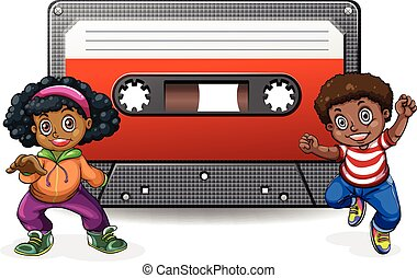 Boy and girl with casette tape illustration