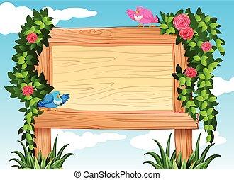 Frame design with birds and vine illustration