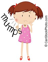 Little girl having mumps illustration
