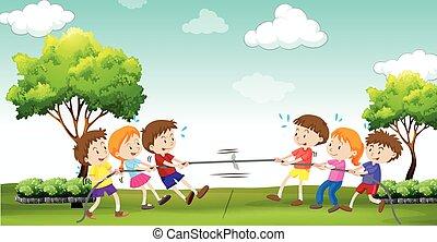 Children play tug of war in the park illustration