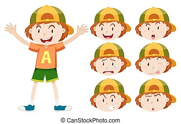 Boy with different facial expressions illustration
