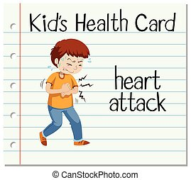 Health card with man having heart attack illustration