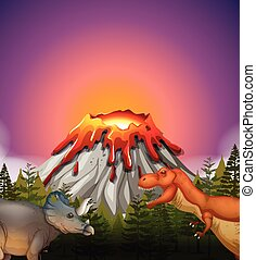 Two dinosaurs living by the volcano illustration