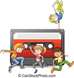 People dancing and casette tape illustration