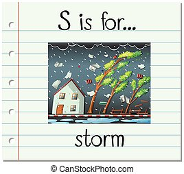 Flashcard letter S is for storm illustration