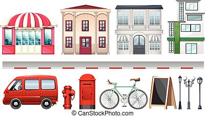 Set of stores and transportations illustration