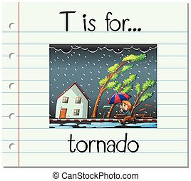 Flashcard letter T is for tornado illustration