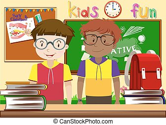Two boys in the classroom