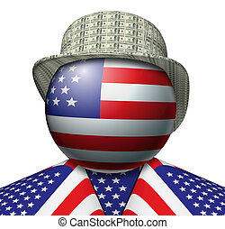 USA Dollar Hat - Illustration of a figure made up of the...