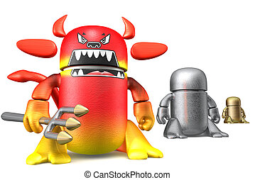 Cute toy robots isolated on a white background 3d rendering...