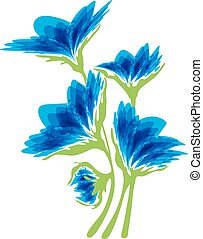 Blue flowers on a white background - Bouquet of blue flowers...