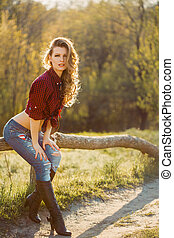 Girl in casual clothing - Young Cowgirl Outdoors Sexy...