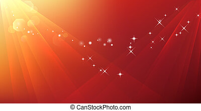 abstract ray and stars in red background