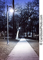 Park path at night - Path through city park at night with...