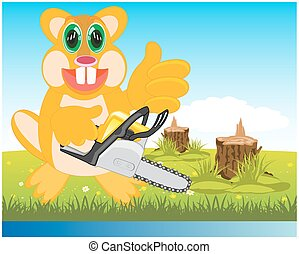 Beaver with chainsaw on glade - Cartoon animal beaver on...
