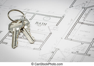 Set Of New House Keys Resting On House Plans - Set Of New...