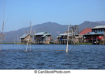 Fishing villages at Inle Lake in Myanmar