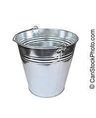 Metallic bucket - Metallic zinced bucket, isolated on white...