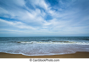 Waves in the Atlantic Ocean at Cape Henlopen State Park, in...