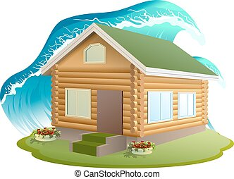 Flooding tsunami - Property insurance Wooden house was...