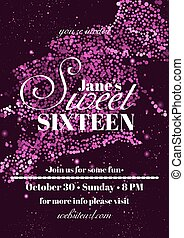 Sweet sixteen glitter party invitation flyer template design...