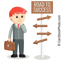 Business man road to success