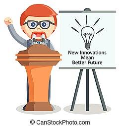 Business man speech innovation